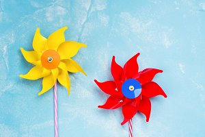 Colorful paper windmill toys