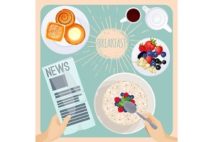 Breakfast table with food and newspaper illustration on light blue