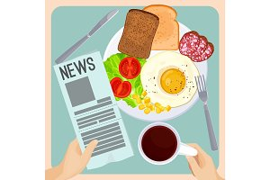 Morning meal with fresh newspaper isolated illustration on light blue