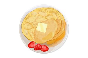 Thin pancakes with strawberries lying on plate isolated illustration