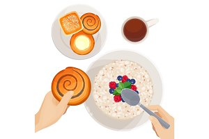 Top view of breakfast table isolated illustration on white