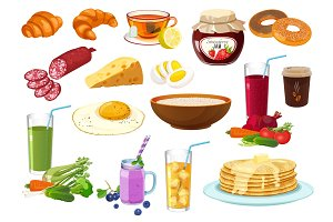 Collection of breakfast food icon isolated illustration on white