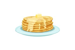 Stack of pancakes on light blue plate isolated illustration