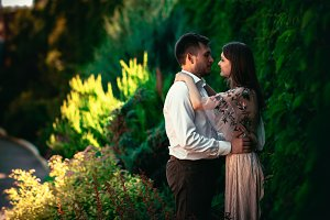 Beautiful young couple on a nature background