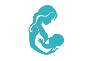 Mother and baby silhouette during breastfeeding process vector