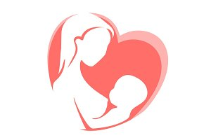 Mother feeding child by breast on background of red heart