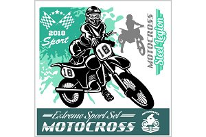 Motocross Rider - vector emblem and logos