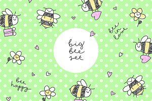 Cute bees, set of cards and patterns