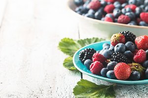 different berries in bowl.