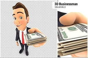 3D Businessman Stack of Dollar Bills