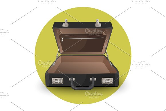 Open Briefcase Or Suitcase With Inside Pocket On Zipper Vector Illustration