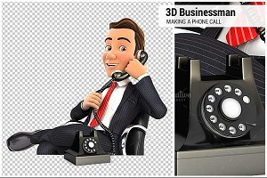 3D Businessman Making a Phone Call
