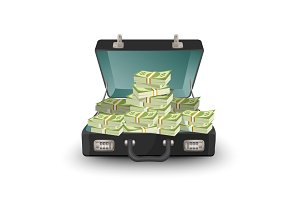 Open briefcase full of money vector illustration isolated on white