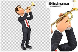 3D Businessman Playing Trumpet