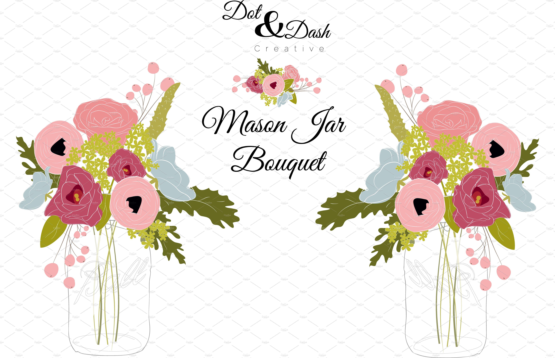 Peony Bouquet In Mason Jar Vector Graphics Creative Market