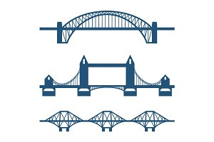 Set of flat bridge icons isolated on white