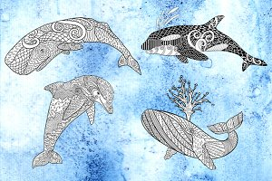 Coloring pages with whales