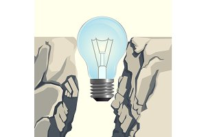 Light bulb filling rocky abyss isolated illustration on white