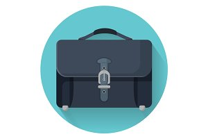 Businessman briefcase with leather lock vector illustration isolated on blue