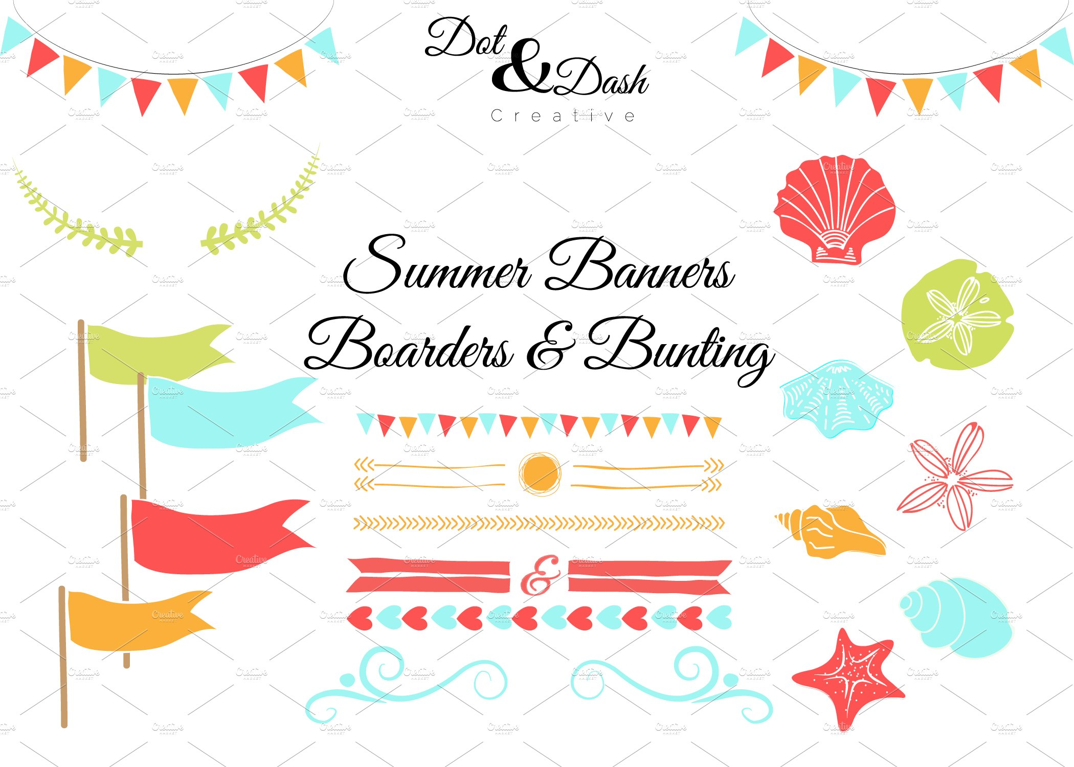 summer bunting banners boarders graphics creative market