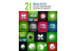 Set of vector realistic transparent glass web boxes, design elements, internet banners or interface backdrops