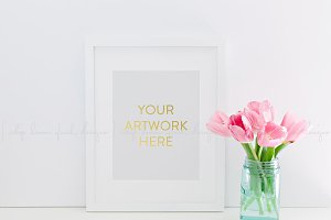 White Frame Pink Tulips Stock Image