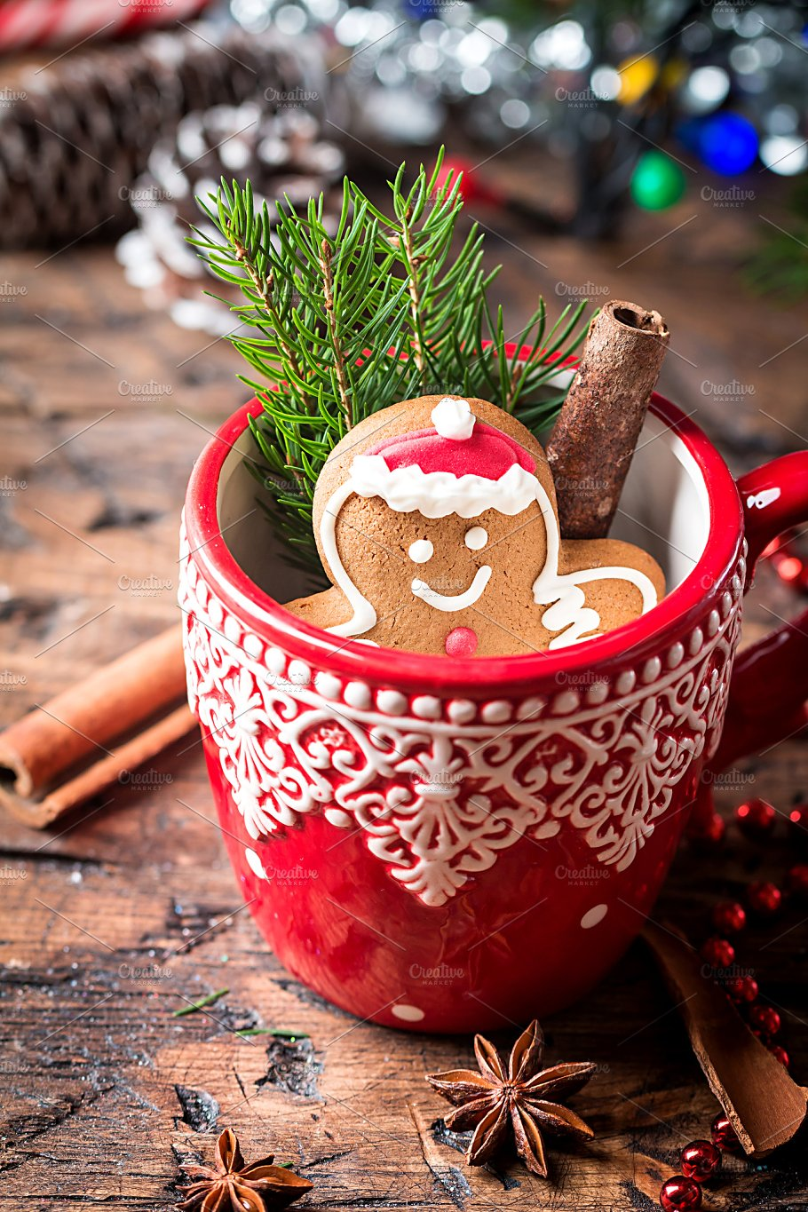 christmas decorations with gingerbread man holidays