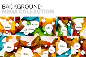 Set of abstract backgrounds, geometric color wavy shapes