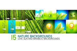 Collection of nature backgrounds and banners - bamboo tree plants, leaves and sun concept templates