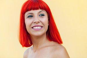 Pretty red hair woman