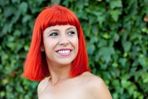 Pretty red hair woman