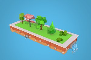 Cartoon Trees Bushes Low Poly Pack