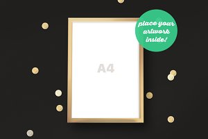 Golden Frame Mockup with a Confetti