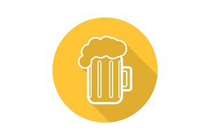 Beer glass flat linear long shadow icon