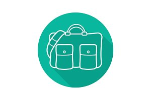 Travel bag flat linear long shadow icon