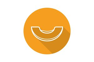 Melon slice flat linear long shadow icon