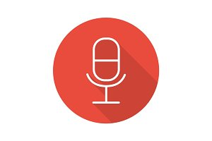 Microphone flat linear long shadow icon