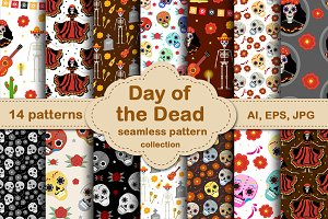 Day of the dead seamless patterns