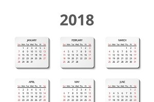 Vector calendar for 2018 year