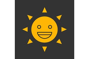 Laughing sun smile glyph color icon