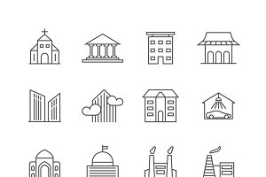 House and building line icons