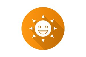 Laughing sun smile flat design long shadow glyph icon
