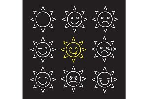 Sun smiles chalk icons set