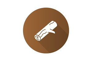 Firewood flat design long shadow glyph icon