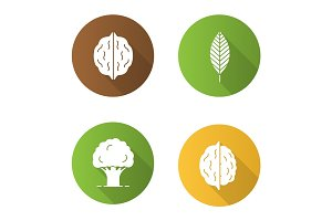 Forestry flat design long shadow glyph icons set