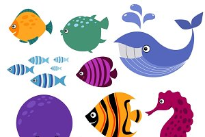 Cartoon smiling sea animals