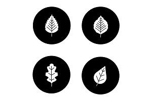 Leaves glyph icons set
