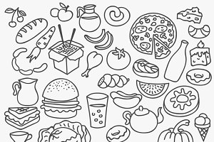 Vector hand drawn food set