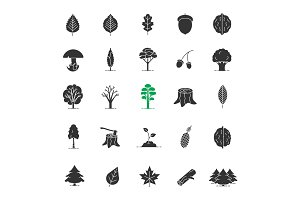 Tree types glyph icons set