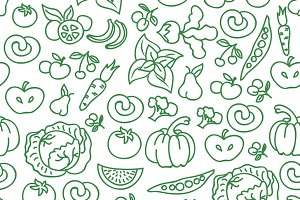 Vegetable foods seamless pattern